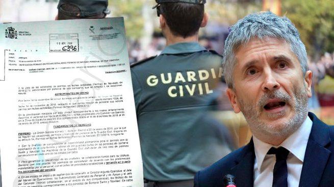 Marlaska deniega los permisos de Navidad a los guardias civiles destinados en Cataluña