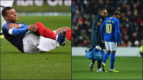 Mbappe y Neymar se lesionan con las selecciones. (Fotos: AFP)