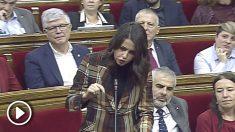 Zasca de Inés Arrimadas a Quim Torra durante el pleno en el Parlament de este miércoles