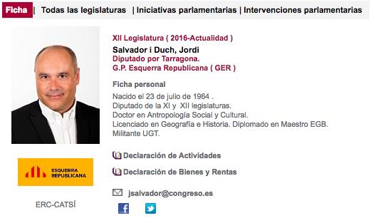 Ficha parlamentaria de Jordi Salvador, el diputado que ha escupido a Borrell.