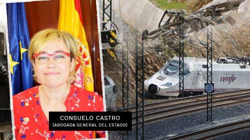 La abogada general del Estado, Consuelo Castro, junto a una imagen del accidente del tres Alvia en Santiago de Compostela.