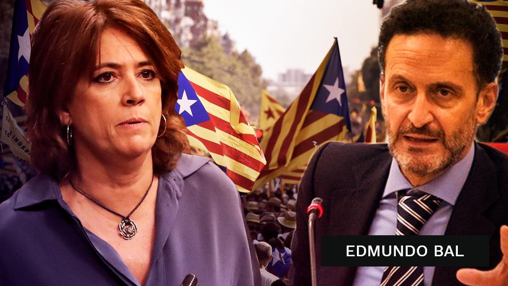 La ministra de Justicia, Dolores Delgado, y el abogado del Estado Edmundo Bal.