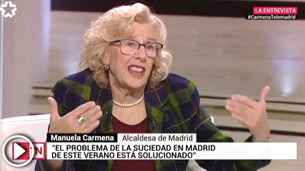 Manuela Carmena culpa de la suciedad de Madrid al «bajo precio del cartón» y a «los cartoneros»