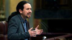 El secretario general de Podemos, Pablo Iglesias, en el Congreso. (Foto: EFE)
