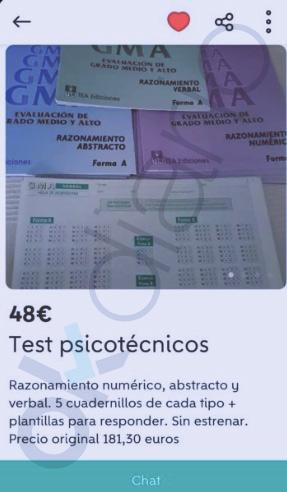El examen psicotécnico de las oposiciones del puerto de Santander se vende en Wallapop por 48€