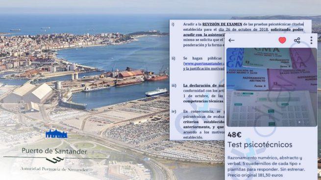 El examen psicotécnico para trabajar en el Puerto de Santander se vende en Wallapop por 48 euros