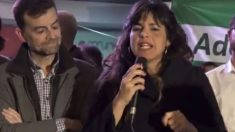 Teresa Rodríguez en un acto en Almería (RRSS).