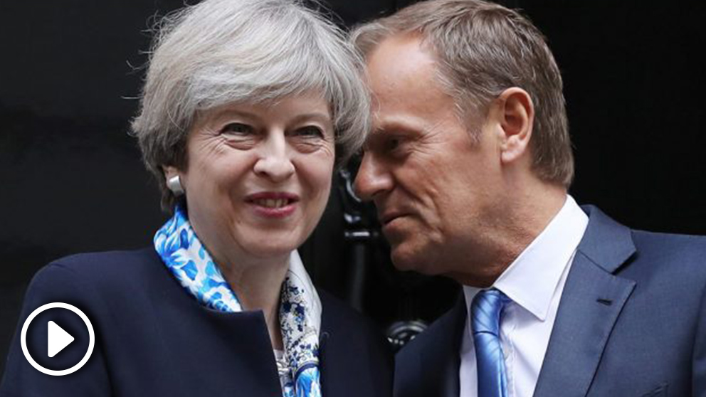Theresa May y Donald Tusk en Downing Street (Foto. Getty)
