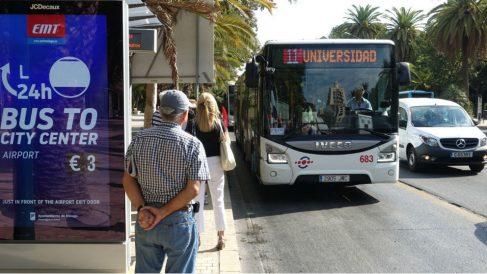Pasajeros esperando un autobús en Málaga. Foto: Europa Press
