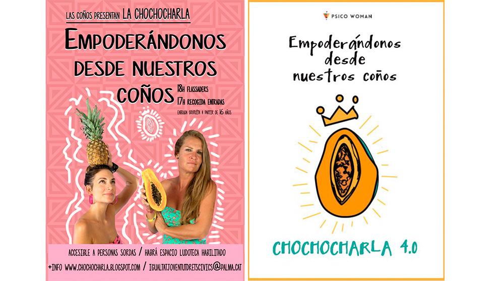 Los carteles que anuncian la «chocho charla» que organiza el Ayuntamiento de Palma