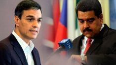 El presidente del Gobierno, Pedro Sánchez, y el presidente de Venezuela, Nicolás Maduro