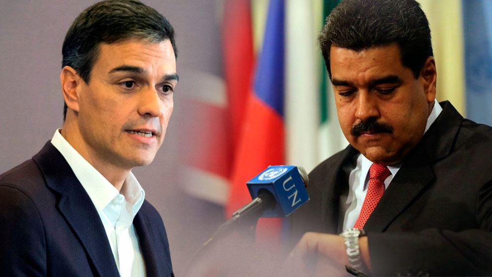 Pedro Sánchez y el dictador venezolano Nicolás Maduro.