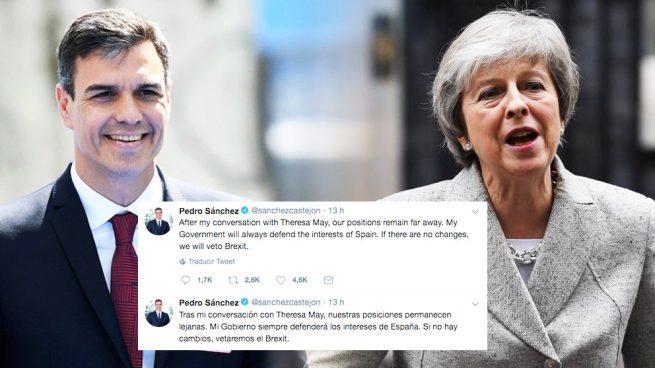 Sánchez miente en inglés y en español: no puede vetar el acuerdo del Brexit porque se vota por mayoría