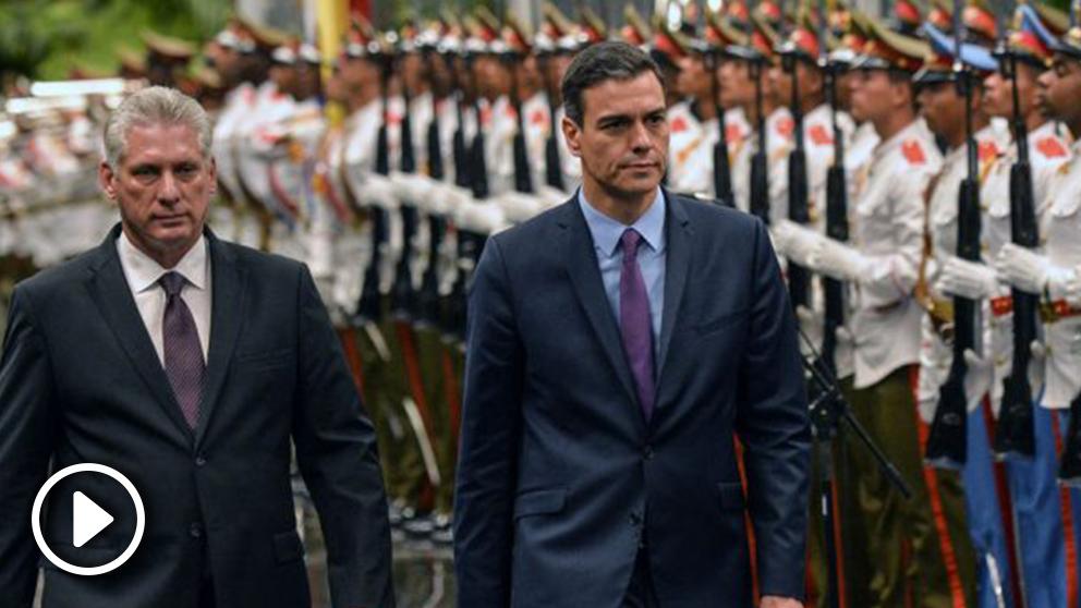 Miguel Díaz-Canel con Pedro Sánchez en La Habana (Foto: AFP)