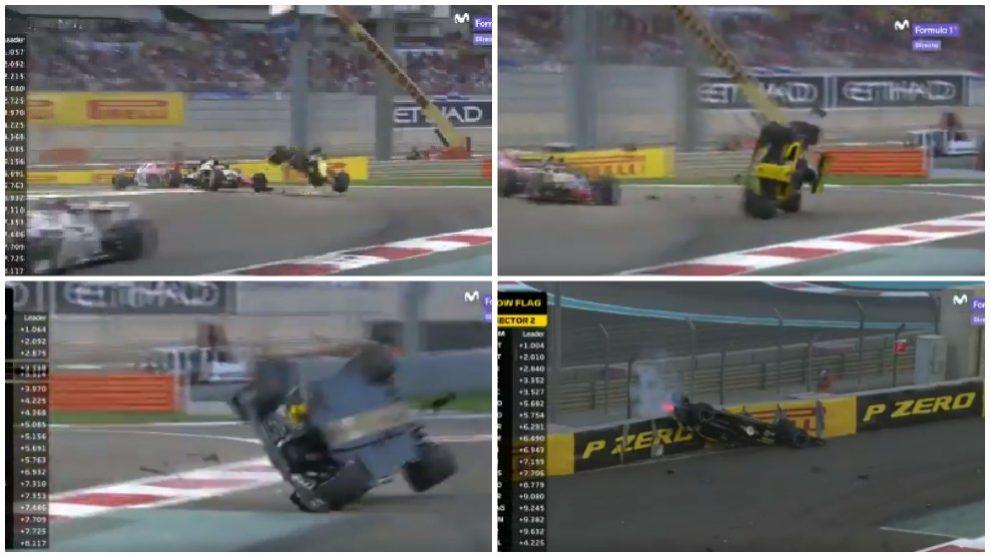 El espectacular accidente de Hulkenberg en la última carrera de Alonso.