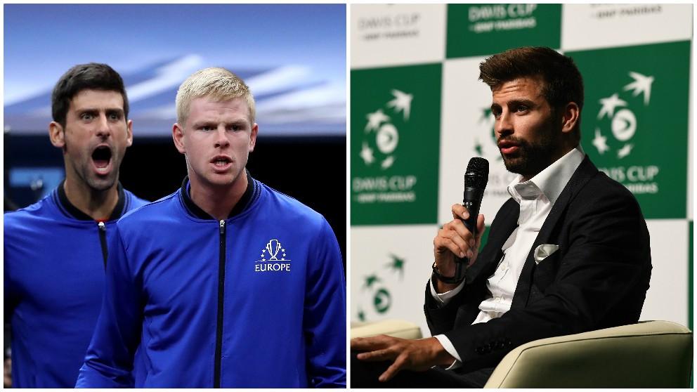 Djokovic, Edmund y Piqué, a la derecha. (AFP)