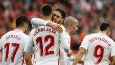 El Sevilla FC, nuevo líder de la Liga Santander 2018-19 (EFE).
