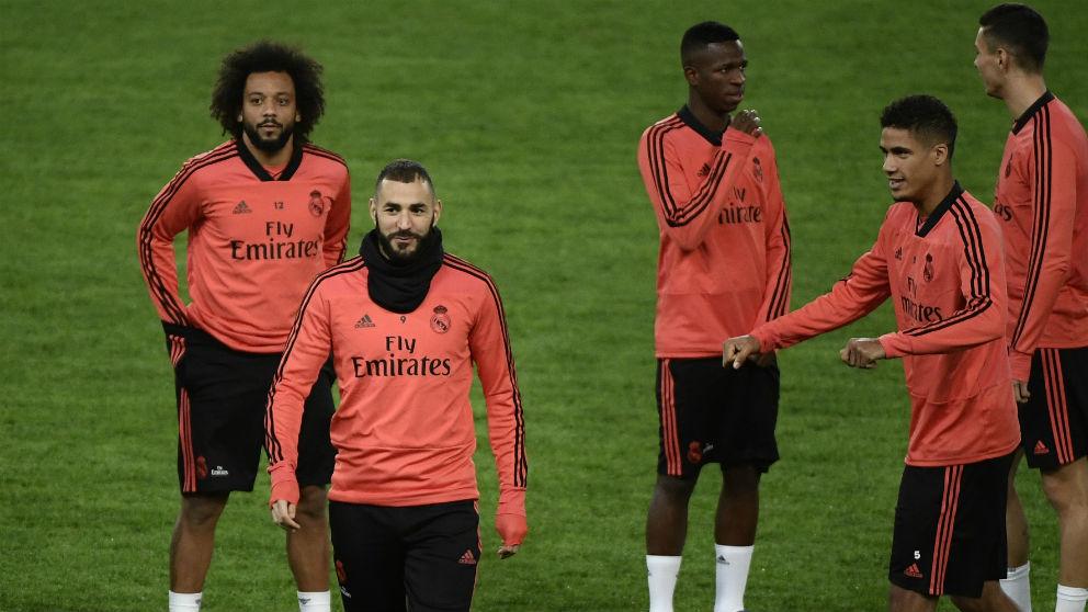 Los jugadores del Real Madrid en un entrenamiento. (AFP)