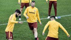 Dzeko, en el entrenamiento con la Roma. (AFP)