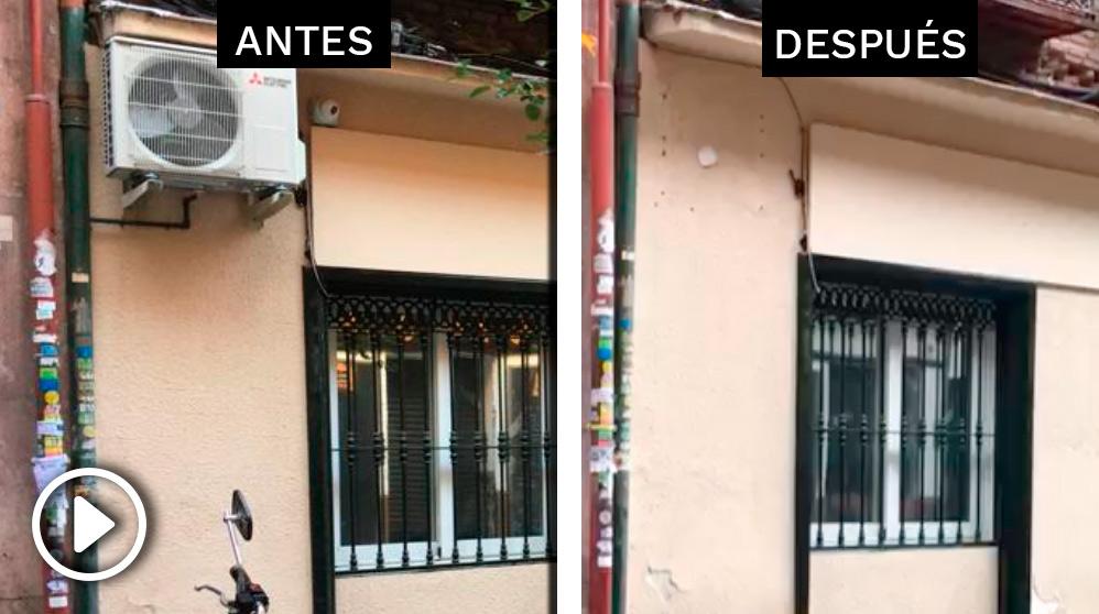 La fachada de la casa de Echenique antes y después de las obras