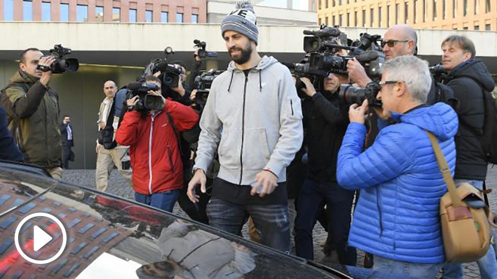 Gerard Piqué, a su salida de los juzgados de Barcelona. (AFP)