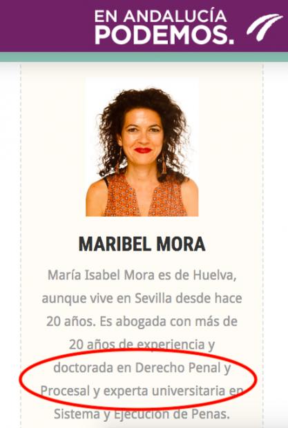 Reseña biográfica de Maribel Mora en la web de Podemos Andalucía.