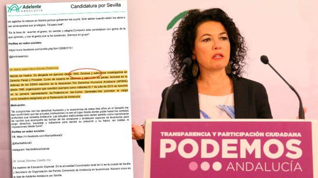 La web electoral de Podemos en Andalucía oculta el currículum de Maribel Mora y su falso doctorado