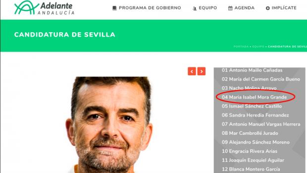 Única referencia a la candidata Maribel Mora en la web electoral de Adelante Andalucía.