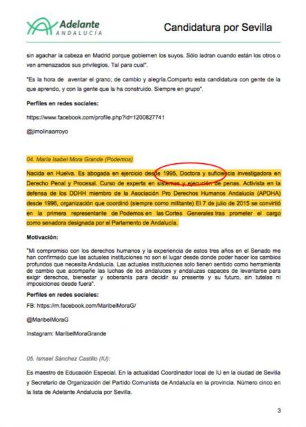 Dossier de prensa de Adelante Andalucía definiendo a Mora como