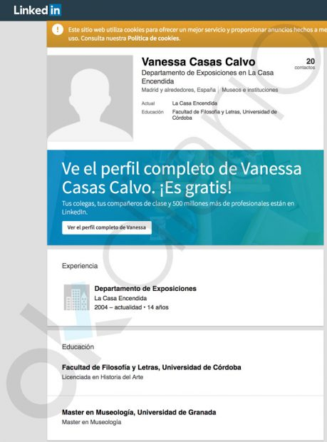 Perfil de Linkedlin de Vanessa Casas Calvo