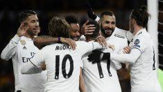 Los jugadores del Real Madrid celebran el 0-2 ante la Roma. (AFP)