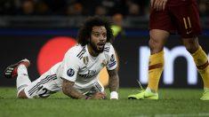 Marcelo, en el partido frente a la Roma. (AFP)