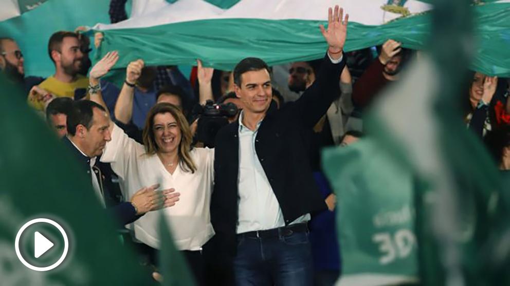 Pedro Sánchez con Susana Díaz este martes (EP).