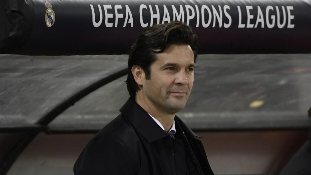 Solari, en el banquillo del Olímpico de Roma. (AFP)