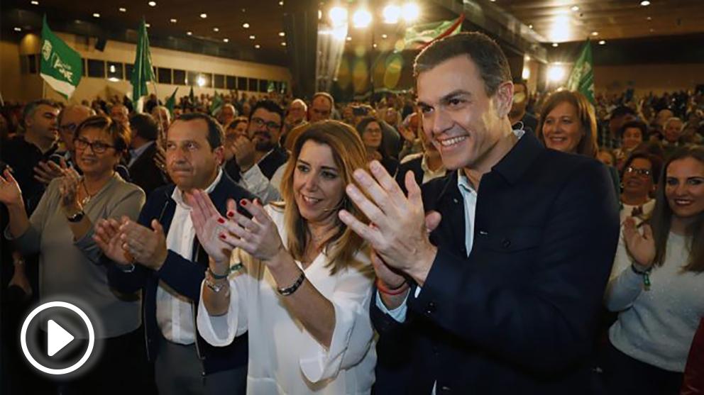 Susana Díaz y Pedro Sánchez en un mitin de campaña de las Elecciones de Andalucía. Foto: EP