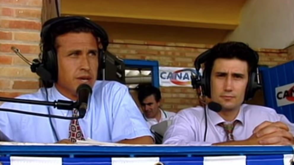 Valdano y Carlos Martínez, en 1990.