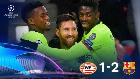 Los jugadores del Barcelona se abrazan a un superlativo Leo Messi.
