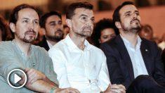 Pablo Iglesias, Antonio Maíllo y Alberto Garzón. (Foto: Efe)