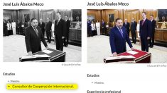 El currículum del ministro Ábalos en la web de Moncloa antes y después de la llamada de OKDIARIO