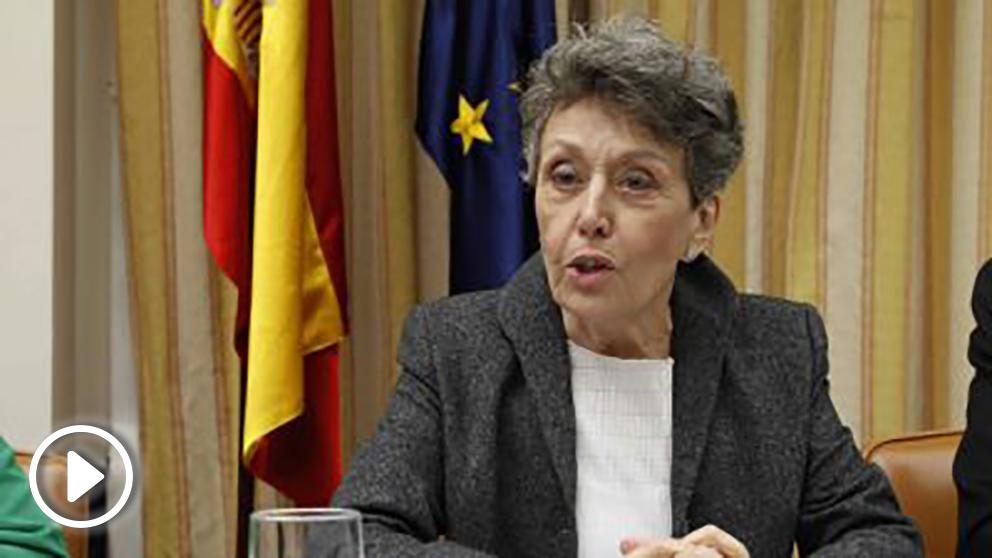 La administradora única provisional de RTVE, Rosa Maria Mateo, durante su comperecencia ante la Comisión Mixta de Control Parlamentario, esta mañana en el Congreso de los Diputados EFE/J.J.Guillen