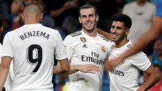 Benzema, Bale y Asensio celebran un gol la pasada temporada. (Getty)