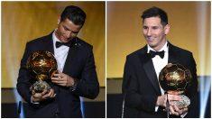 Messi y Cristiano Ronaldo, los dos jugadores que más veces han levantado el Balón de Oro.
