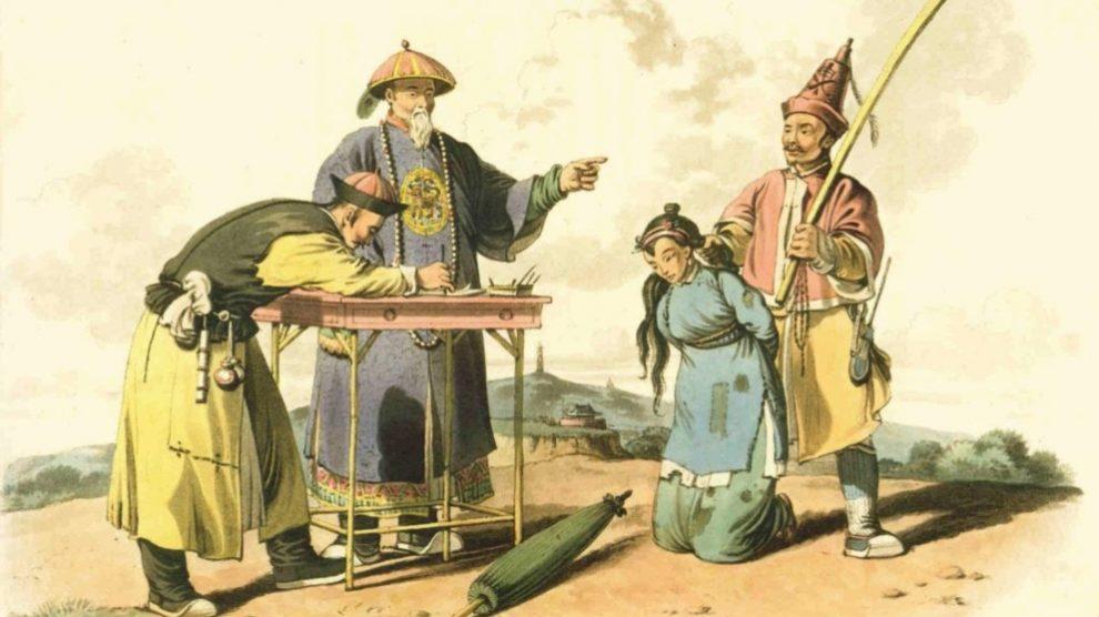 Un cuadro con una tortura china de la antigüedad.