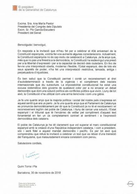 La carta remitida por Quim Torra en la que rechaza la invitación a los actos por el 40 aniversario de la Constitución española.