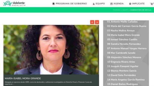 La web electoral de Adelante Andalucía con la información actualizada de la senadora Maribel Mora.