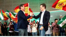 Moreno y Casado en el acto de cierre de campaña (Foto: EFE).