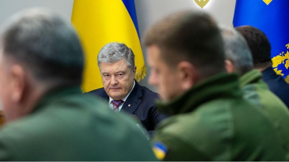 Petro Poroshenko, en una reunión con militares. Foto: Europa Press