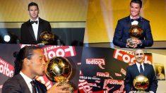 Leo Messi, Cristiano Ronaldo, Ronaldinho y Cannavaro con el Balón de Oro.