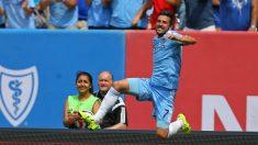 David Villa celebra un gol con el New York City. (Getty)