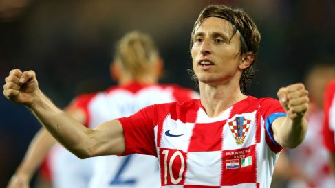 Luka Modric celebra un gol con Croacia. (Getty)